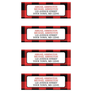 Red and Black Buffalo Plaid Address Labels at Artistically Invited