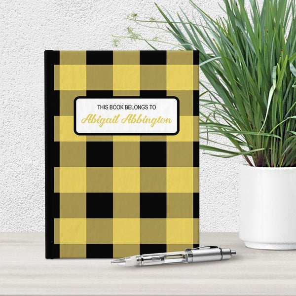 Personalized Yellow and Black Buffalo Plaid Journal at Artistically Invited