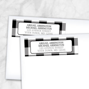 Black and White Buffalo Plaid Address Labels at Artistically Invited
