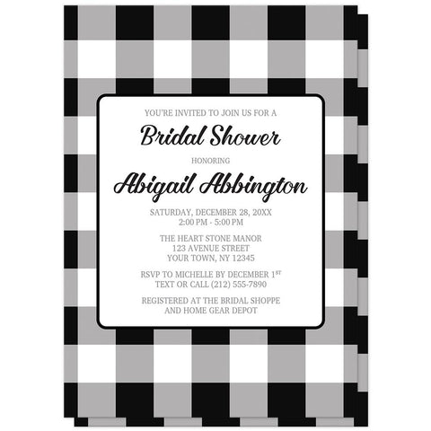 Black and White Buffalo Plaid Bridal Shower Invitations at Artistically Invited