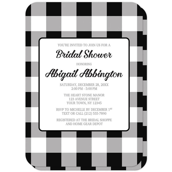 Black and White Buffalo Plaid Bridal Shower Invitations (rounded corners) at Artistically Invited