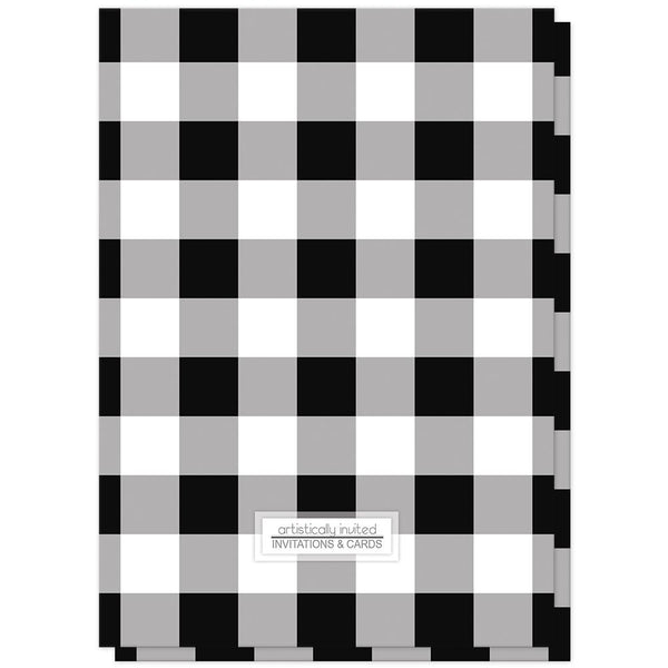 Black and White Buffalo Plaid Bridal Shower Invitations (back side) at Artistically Invited