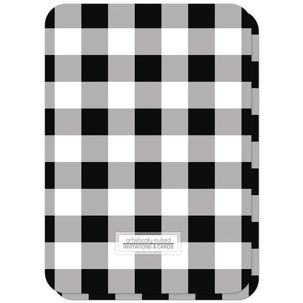 Black and White Buffalo Plaid Bridal Shower Invitations (back side, rounded corners) at Artistically Invited
