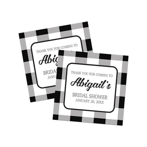 Black and White Buffalo Plaid Thank You Stickers at Artistically Invited