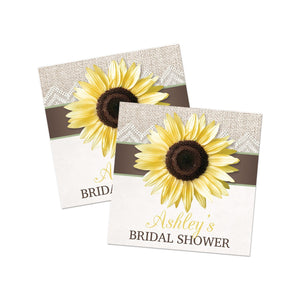 Burlap Lace Brown Sage Sunflower Favor Stickers at Artistically Invited