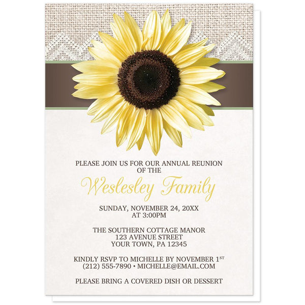 Burlap Lace Brown Sage Sunflower Family Reunion Invitations at Artistically Invited