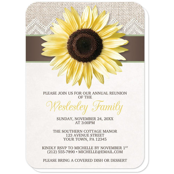 Burlap Lace Brown Sage Sunflower Family Reunion Invitations (rounded corners) at Artistically Invited