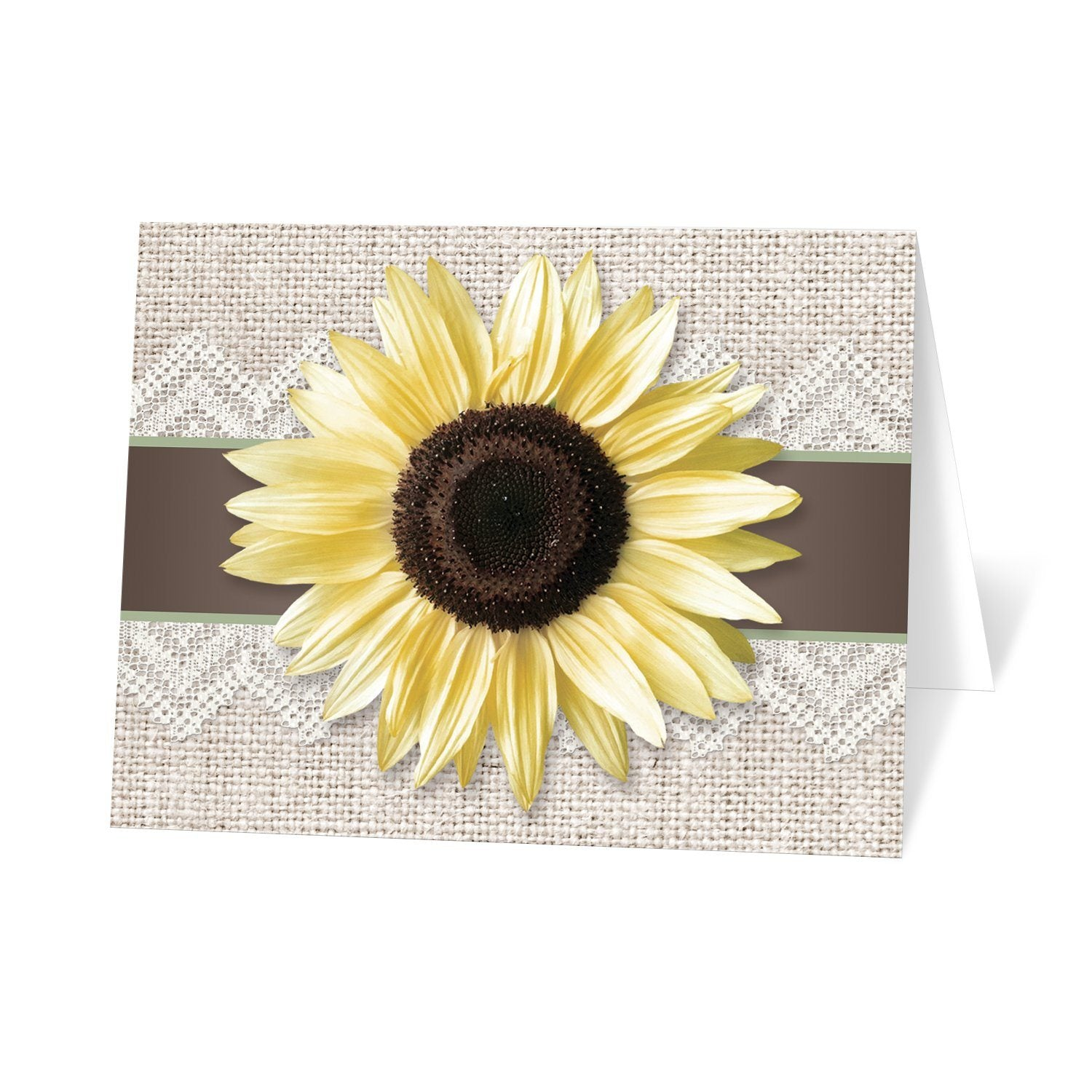 Burlap Lace Brown Sage Sunflower Note Cards at Artistically Invited