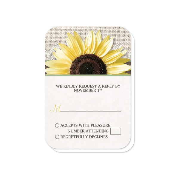 Burlap Lace Brown Sage Sunflower Wedding RSVP (rounded corners) at Artistically Invited