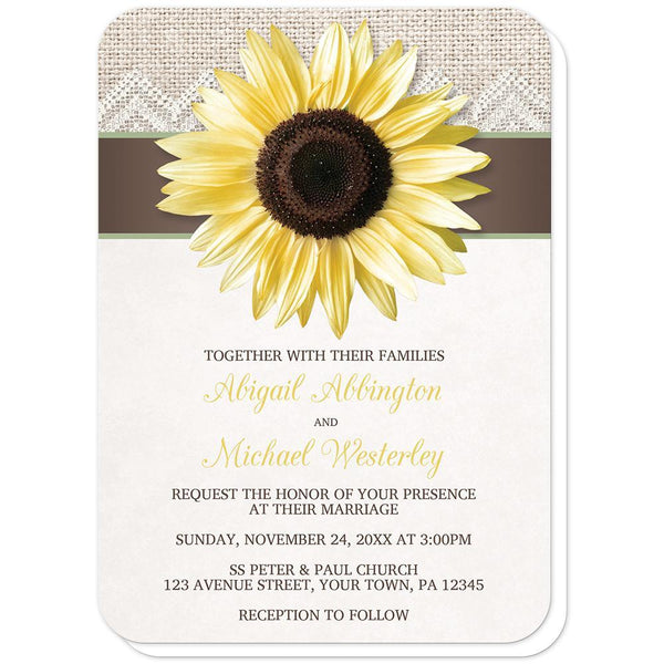 Burlap Lace Brown Sage Sunflower Wedding Invitations (rounded corners) at Artistically Invited