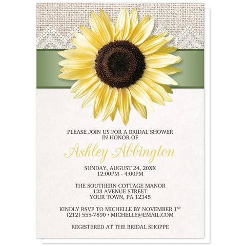 Burlap and Lace Sage Sunflower Bridal Shower Invitations at Artistically Invited