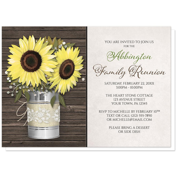 Sunflower Family Reunion Invitations - Rustic Burlap and Lace Tin Can Sunflower Family Reunion Invitations at Artistically Invited