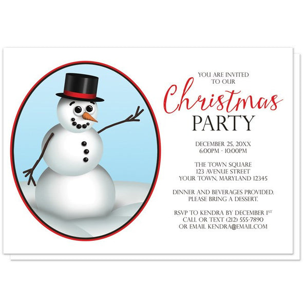 Cute and Classy Snowman Christmas Party Invitations - Artistically Invited