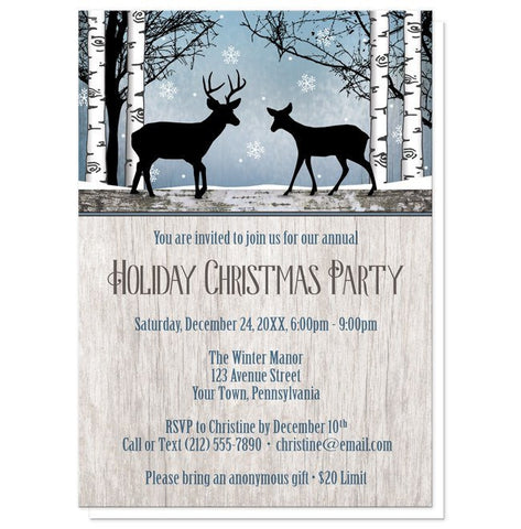Rustic Blue Winter Deer Christmas Party Invitations - Artistically Invited