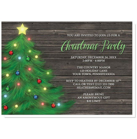 Rustic Wood Holiday Tree Christmas Party Invitations - Artistically Invited