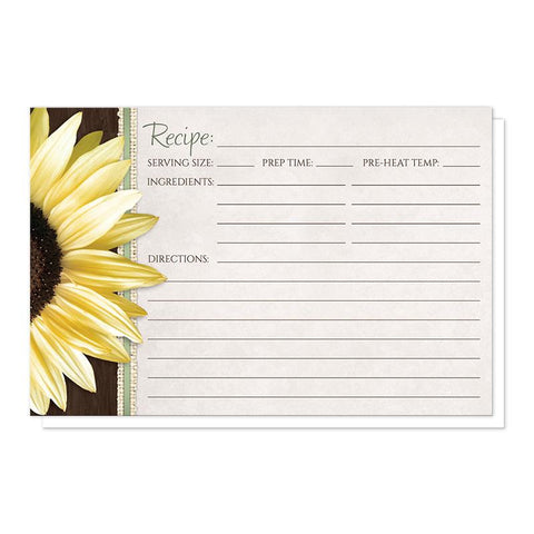 "Country Sunflower Wood Brown Green - Sunflower Recipe Cards at Artistically Invited (4"" x 6"")"