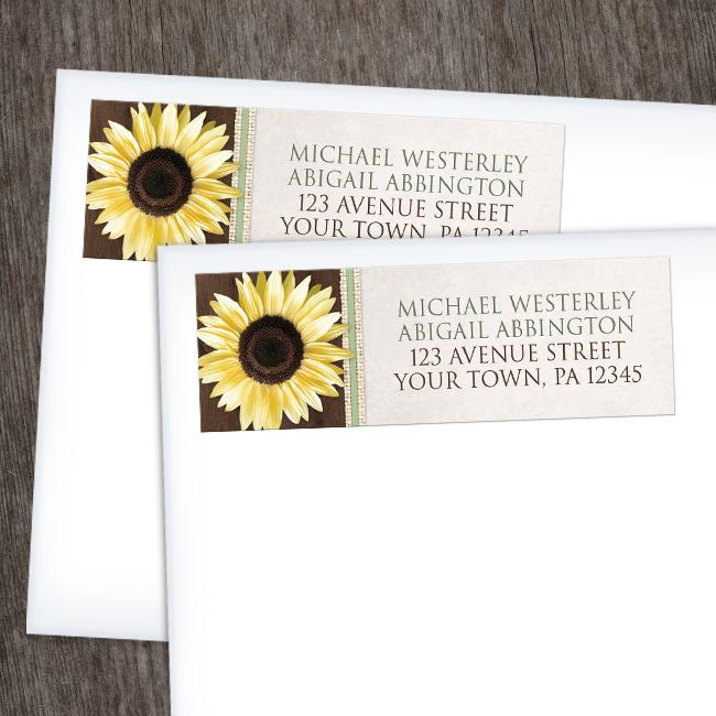 Sunflower Address Labels - Country Sunflower Wood Brown Green - Sunflower Address Labels at Artistically Invited