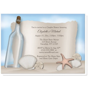Message from a Bottle Beach Couples Shower Invitations - Artistically Invited