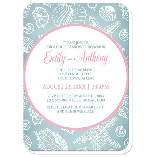 Blue Seashell Pink Beach Couples Shower Invitations - Artistically Invited