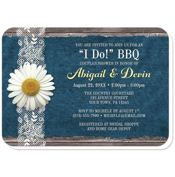 Couples Shower Invitations - Daisy Denim and Lace I Do BBQ - rounded corners