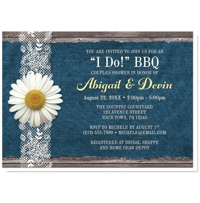 Daisy Denim and Lace I Do BBQ Couples Shower Invitations at  Artistically Invited