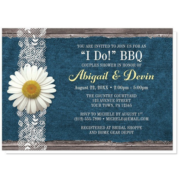 Daisy Denim and Lace I Do BBQ Couples Shower Invitations - Artistically Invited