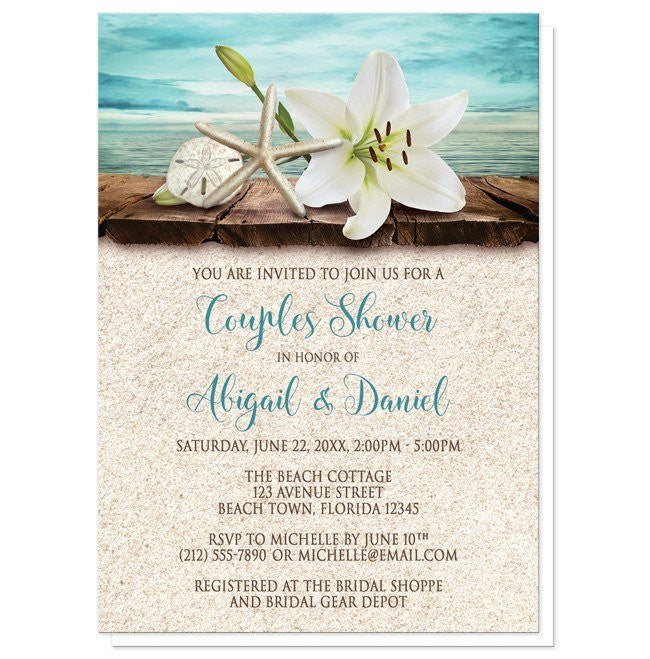 Lily Seashells Sand Beach Couples Shower Invitations - Artistically Invited