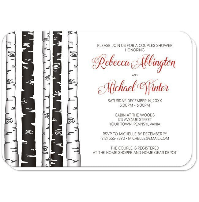 Monochrome Birch Tree With Red Couples Shower Invitations