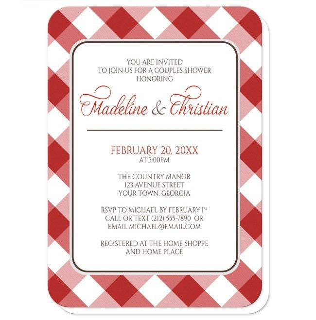Red Gingham Pattern Couples Shower Invitations at  Artistically Invited