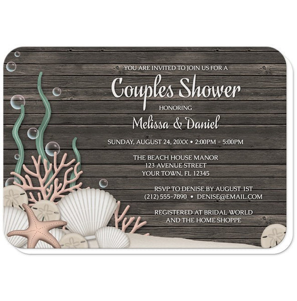 Couples Shower Invitations - Rustic Beach Seashells and Wood - rounded corners
