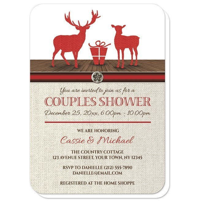 Rustic Deer Burlap Red Holiday Couples Shower Invitations at  Artistically Invited