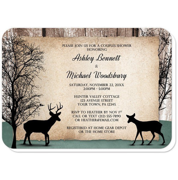 Rustic Deer Woodsy Couples Shower Invitations - Artistically Invited