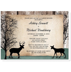 Deer Couples Shower Invitations - Rustic Woodsy Deer Couples Shower Invitations at Artistically Invited