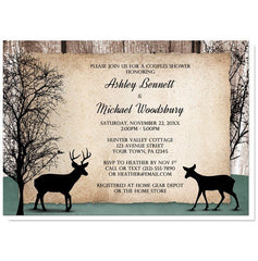 Couples Shower Invitations - Rustic Deer Woodsy