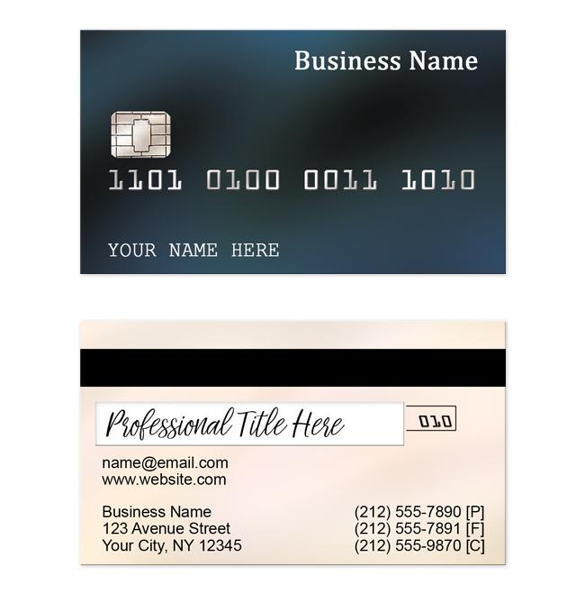 Credit Card Look-alike Blue Business Cards