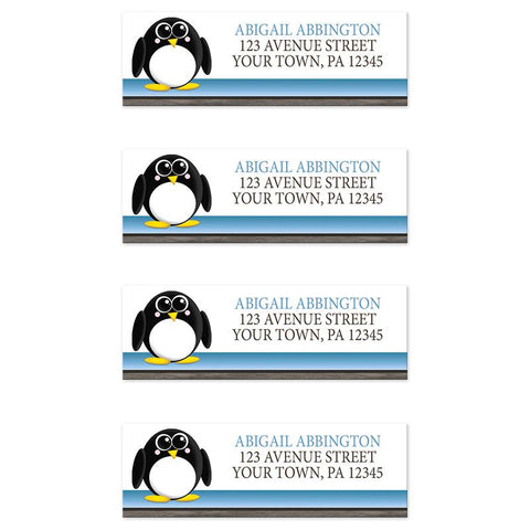 Cute Penguin Blue Rustic Address Labels at Artistically Invited