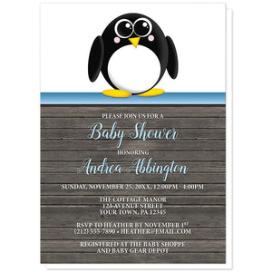 Cute Penguin Blue Rustic Wood Baby Shower Invitations at Artistically Invited