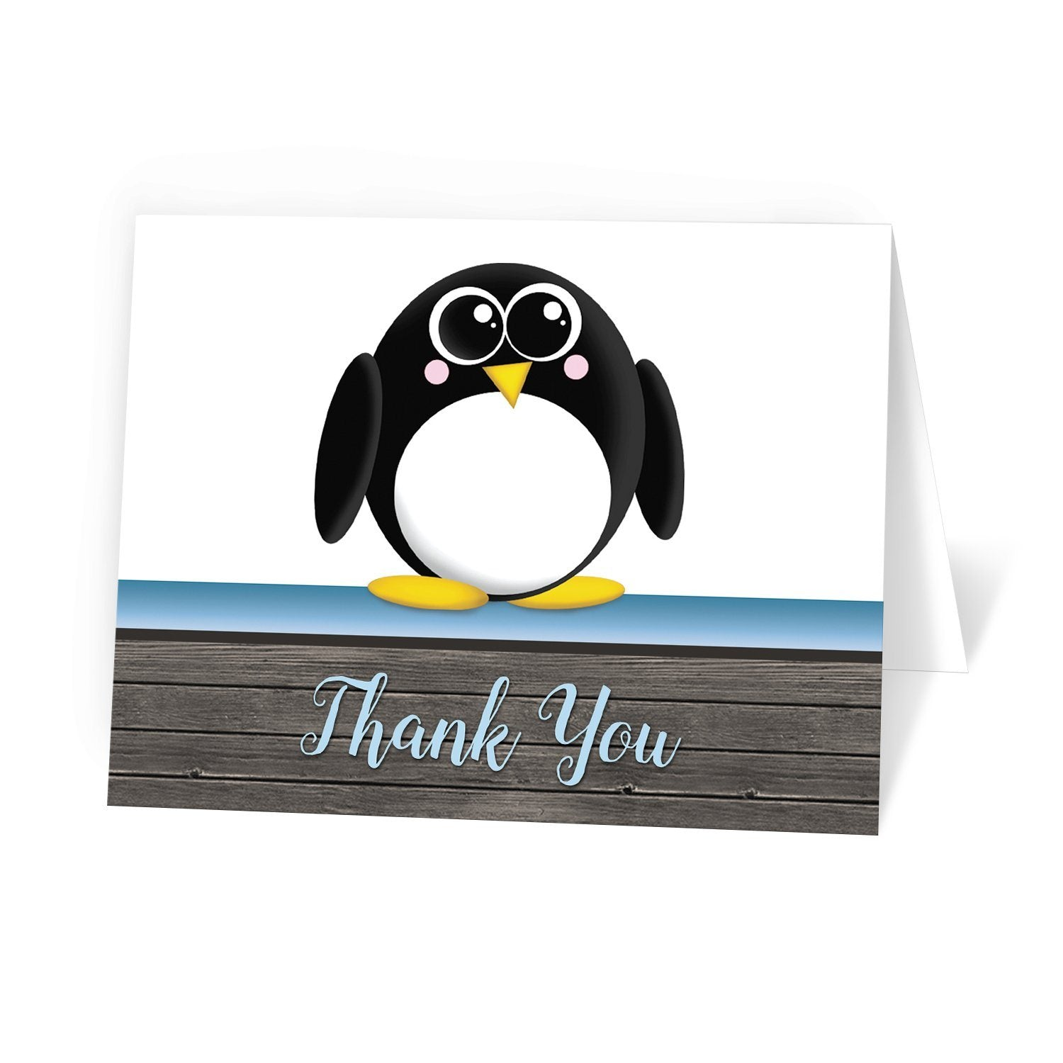 Cute Penguin Blue Rustic Wood Thank You Cards at Artistically Invited
