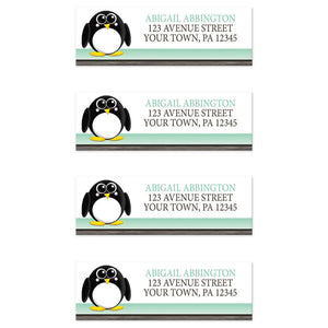 Cute Penguin Mint Green Rustic Address Labels at Artistically Invited