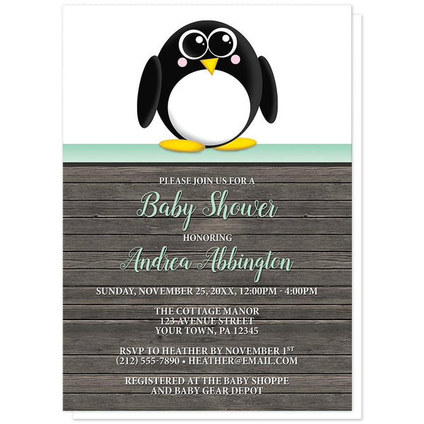 Cute Penguin Mint Green Rustic Wood Baby Shower Invitations at Artistically Invited