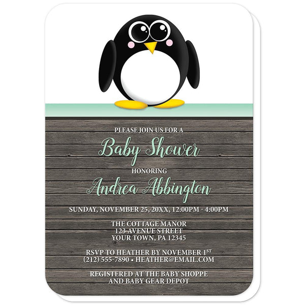 Cute Penguin Mint Green Rustic Wood Baby Shower Invitations (rounded corners) at Artistically Invited