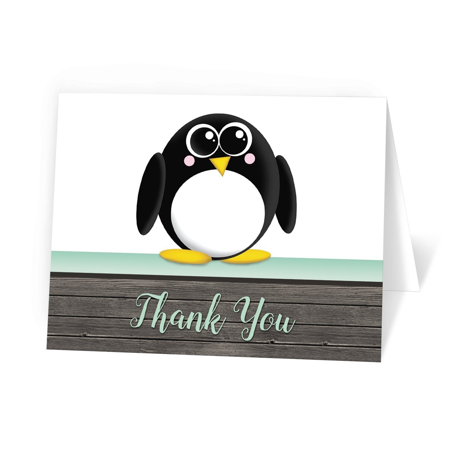 Cute Penguin Mint Green Rustic Wood Thank You Cards at Artistically Invited