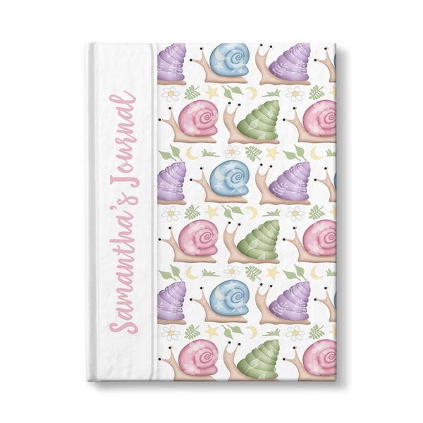 Personalized Cute Snails Journal (personalized with pink text) at Artistically Invited