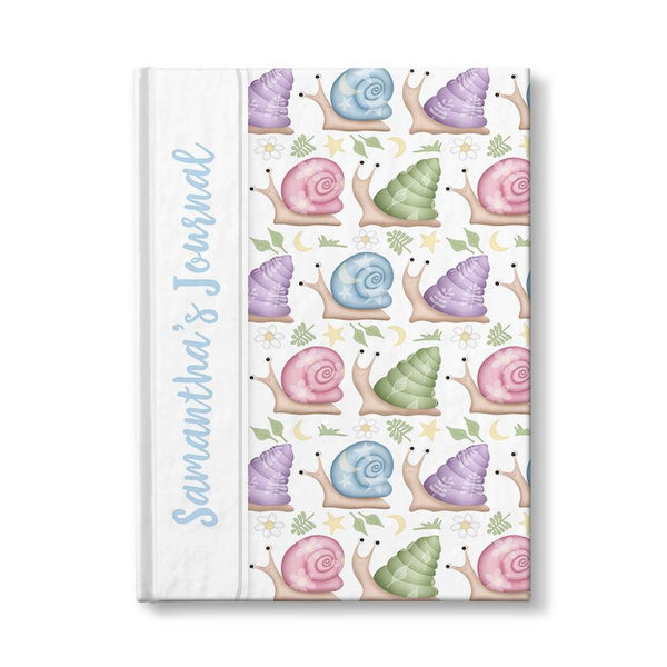 Personalized Cute Snails Journal (personalized with blue text) at Artistically Invited