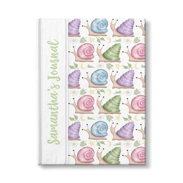 Personalized Cute Snails Journal (personalized with green text) at Artistically Invited