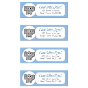 Cute Elephant Blue Return Address Labels at Artistically Invited