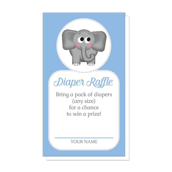 Cute Elephant Blue Diaper Raffle Cards at Artistically Invited