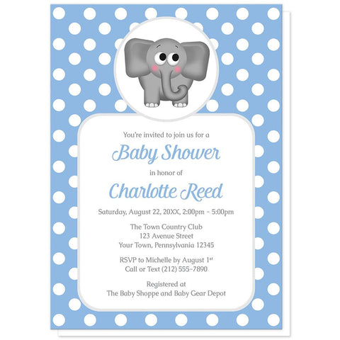 Cute Elephant Blue Polka Dot Baby Shower Invitations at Artistically Invited