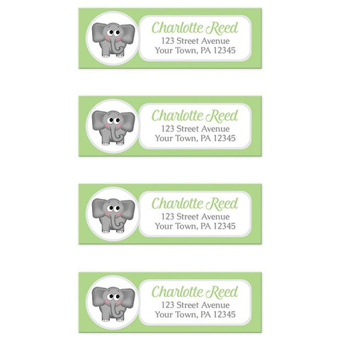 Cute Elephant Green Return Address Labels at Artistically Invited