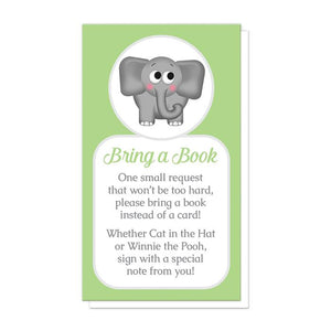 "Cute Elephant Green ""Bring a Book"" Cards at Artistically Invited"